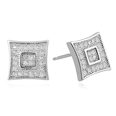 Lureen 9.5mm Silver Double Layer Square Iced Out CZ Stud Earring of Men Boys cef9cb4f7db
