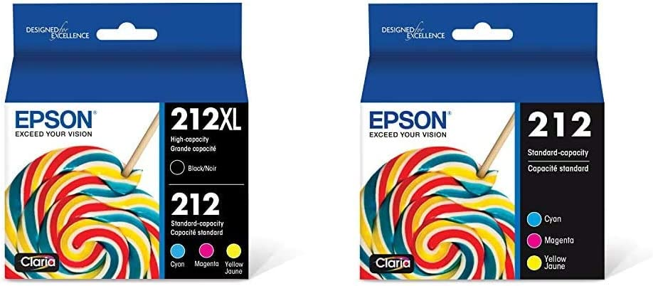 Epson 212XL, Standard-Capacity Color and High-Capacity Black Ink Cartridges, (CMYK) 4-Pack & T212 Claria Standard Capacity Cartridge Ink - Color Combo Pack