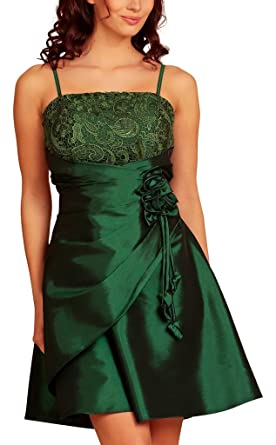 Knee Length Layered Evening Dresses Lace Taffeta Short Satin Flowers Party Cocktail Dress Womens Ladies Dark