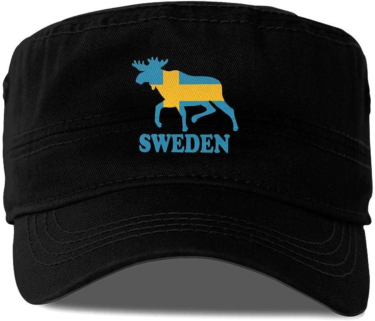 Swedish Flag and Moose Logo Classic Adjustable Cotton Baseball Caps Trucker Driver Hat Outdoor Cap Gray