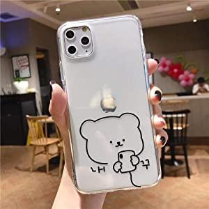 Cute Bear Transparent Apple Phone Case iPhonex Silicone Soft Simple (Buy Two Get One Free)-Black line Bear iPhone 5/5s/SE