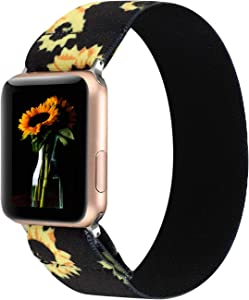 PENKEY Women Elastic Watch Band Compatible for Apple Watch 38mm 40mm 42mm 44mm,Stretchy Wristbands Replacement for IWatch Series 1 2 3 4 5 (Sunflower, 42/44mm)