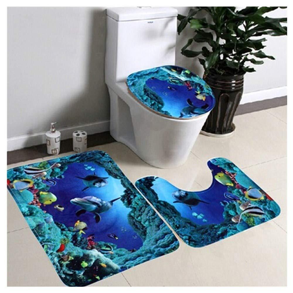 Makaor Bathroom Non-Slip Blue Ocean Style Pedestal Rug + Lid Toilet Cover + Bath Mat (Size:50cmx 80cm/50cmx 40cm//43cmx 37cm, Blue)