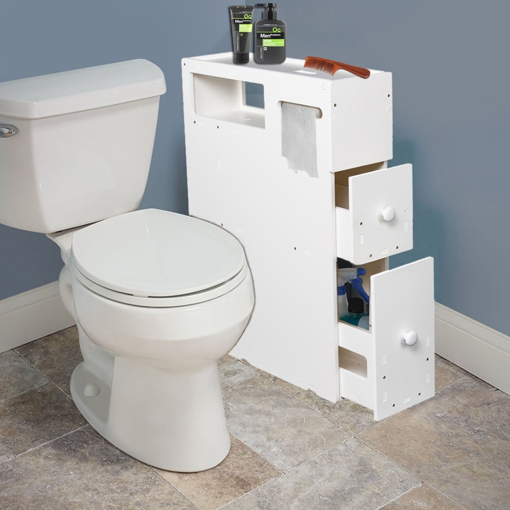 Lanlan Bathroom Cabinet Floor Storage with Drawer Movable Home Bath Toilet Organizer Stand Space Saver White Freestanding Slim Bath Cabinet Tissue Dispenser Multipurpose Toilet Side Corner Cabinet