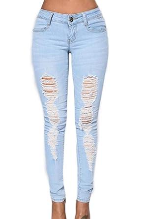 Jeggings Primaverile Estivi Eleganti Moda Donna Trousers Ragazze Giovane  con Tasche Monocromo High Waist Lunga Jeans Strappati Pantaloni Vita Alta  Grazioso ... 3711b109479