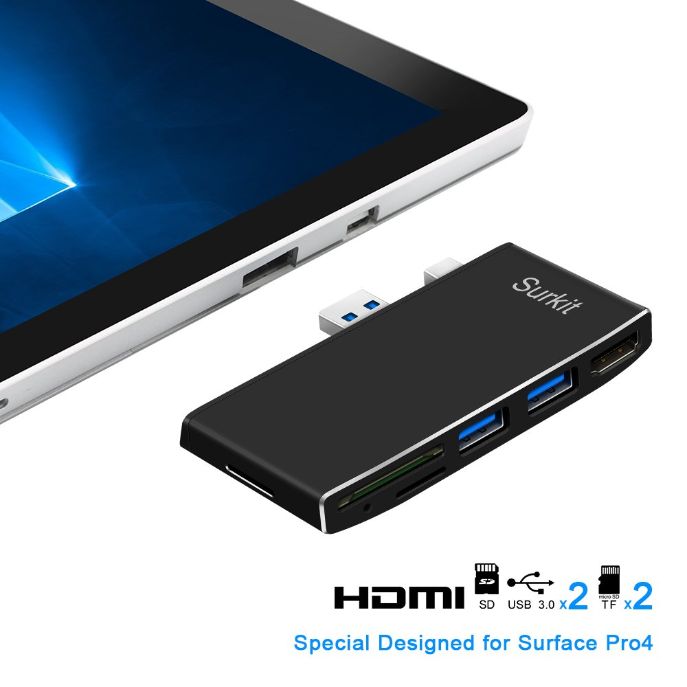 Surface Pro 4 USB 3.0 Hub and Card Reader Combo with Build-in Mini DP to HDMI Adapter, Dual USB 3.0 Port and SD & 2 TF/Micro SD Memory Card Reader for Microsoft Surface Pro 4