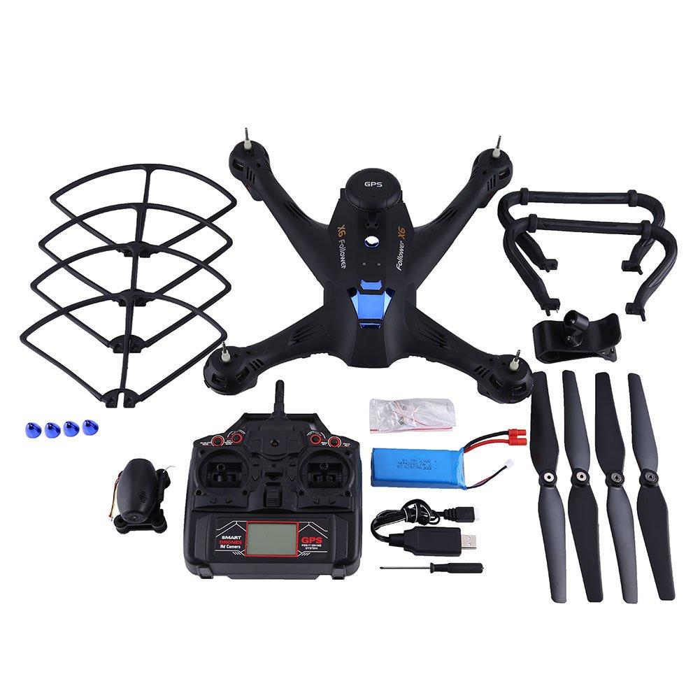 Wifi RC Drohne mit 720p Kamera, Dual GPS Höhe Halten Headless Modus Quadcopter Spielzeug(Schwarz)