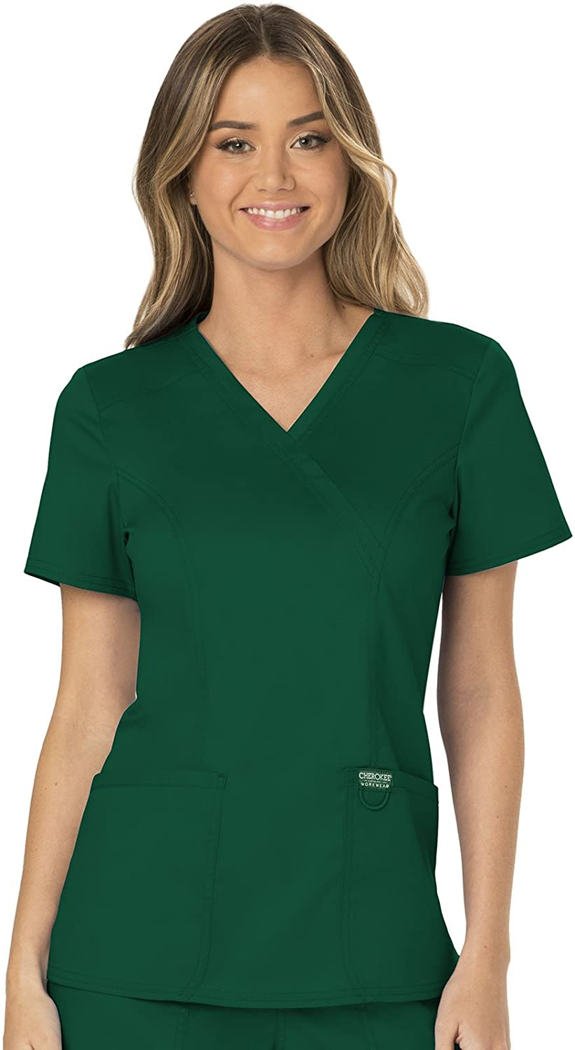CHEROKEE Workwear Revolution Mock Wrap Scrub Top: Clothing