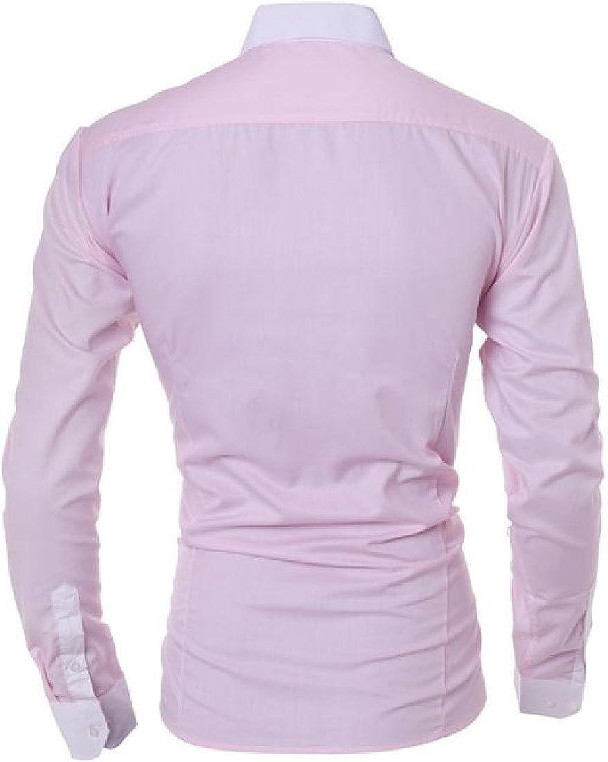 SportsX Mens Long Sleeve Regular Fit Inner Contrast Dress Shirts Top
