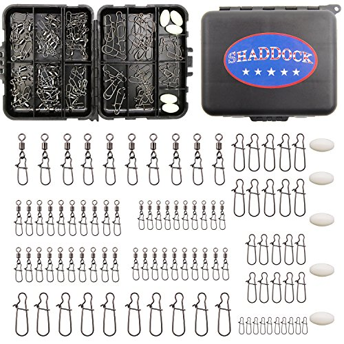Fishing Swivels Kit 95pcs Black Fishing Snaps and Swivels Connectors with Portable Travel Box for Bass Trout in Saltwater and Freshwater