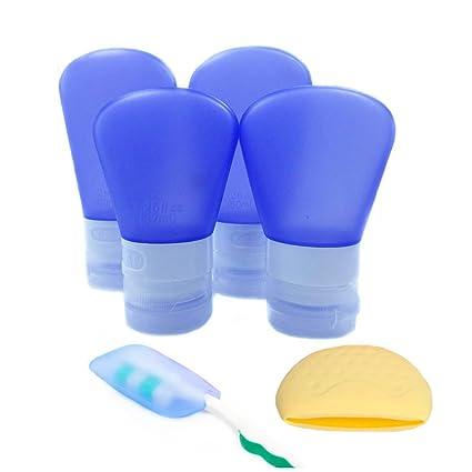 Abaría - 7 pcs botellas de silicona de viaje y el vaso suave de cepillo de