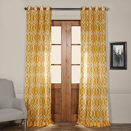 Half Price Drapes SHCH-PS16074-96-GR Grommet Printed Sheer Curtain, 50 x 96″, Tava Yellow
