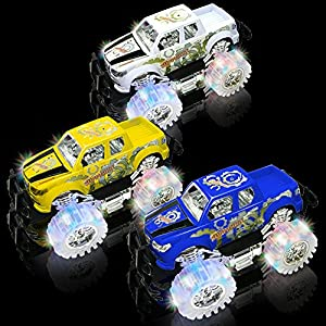 """Light Up Jumbo Monster Truck for Boys and Girls by ArtCreativity 10.5"""" Monster Truck With Beautiful Flashing LED Tires - Push n Go Toy Cars Best Gift for Kids - For Ages 3+ (White)"""