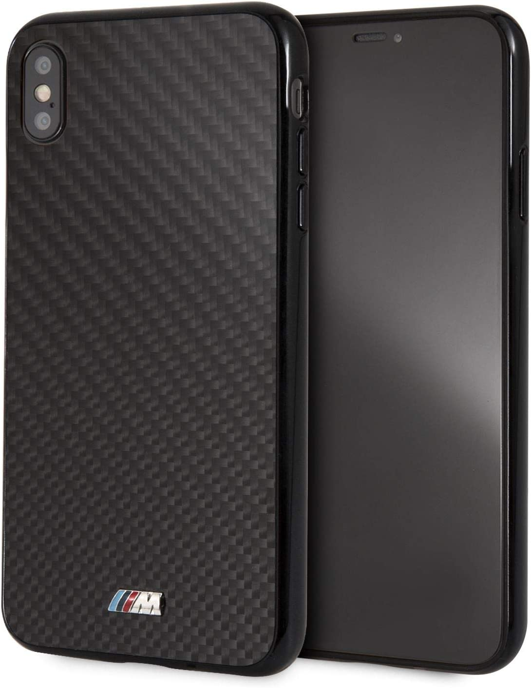 CG Mobile - Carcasa rígida para iPhone Xs Max, fibra de carbono, color negro con logotipo M, puertos fácilmente accesibles, con licencia oficial: Amazon.es: Electrónica