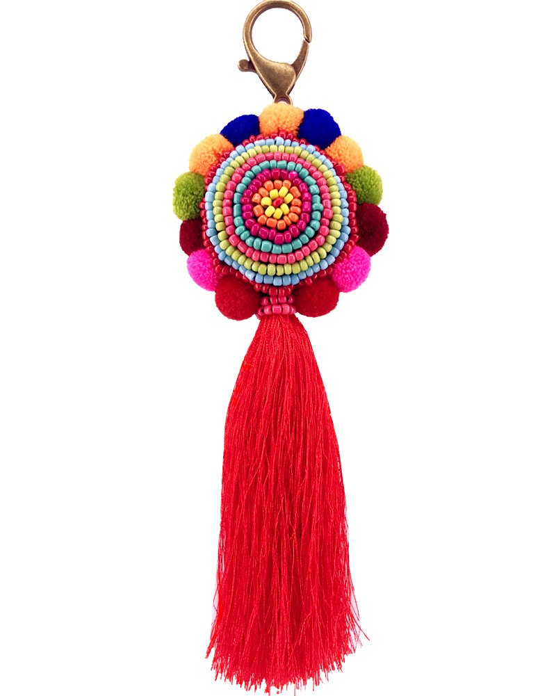 QTMY Big Pom Pom Beaded Tassel Boho Long Bag Pendant Charm Keyring Keychain for Women Purse Handbag Decor by QTMY