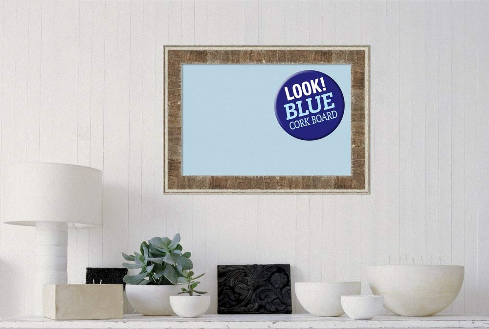 Amanti Art Framed Blue Cork Board Bulletin Board | Blue Cork Boards Farmhouse Brown Narrow Frame | Framed Bulletin Boards | 28.75 x 20.75 by Amanti Art (Image #4)