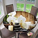Mikihome Simple Modern Round Table Cloth Asian Spa Style Decoration with Zen Stones Candle Flowers and Bamboo White Green for Daily use, Wedding, Restaurant 59''-63'' Round (Elastic Edge)