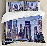 What Are the Measurements of a California King Size Bed USOPHIA City 4 Pieces Bed Sheets Set King Size, Los Angles California Skyline Urban USA Cityscape Skyscrapers Highway Avenue Trees Floral Duvet Cover Set, Multicolor