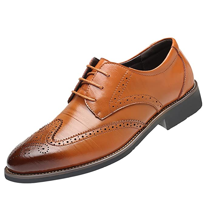 3ceb092d1740 IAMUP Classical Style Men s Shoes Breathable Hollow Business Shoes Party  and Wedding Casual Pointed Shoes Brown
