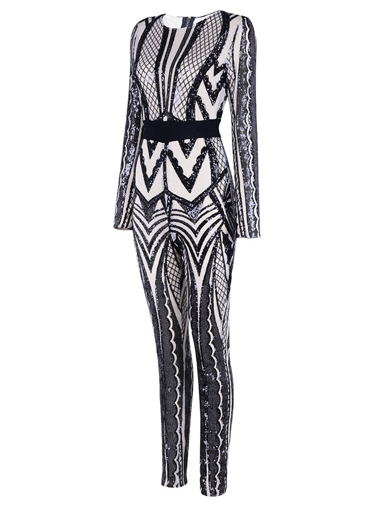 Tina Beauty Sexy Nude Mesh Black Sequins Zip Back Long Sleeve Jumpsuits Small by Tina Beauty (Image #3)