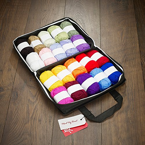 Mind My Thread 20 Extra Large Super Soft Acrylic Yarn Skeins Set | Assorted Colors Crochet & Knitting Craft Yarn Kit with Reusable Storage Bag | 20 Colors Yarn Multi Pack (Crocheting Kit)