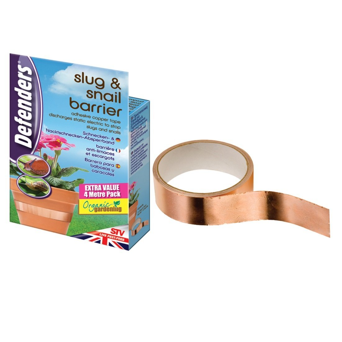 Defenders 4 m Slug and Snail Barrier Tape (Copper Tape, Natural Slug  Deterrent, Anti Slug Repellent Strips): Amazon.co.uk: Garden & Outdoors