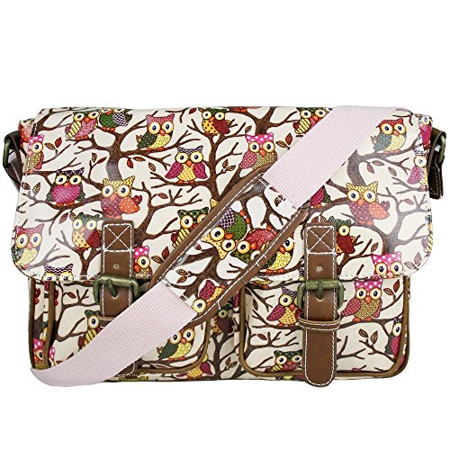 (Miss Lulu Oilcloth Prints Satchel Messenger Shoulder School Bag (Owl Pink))