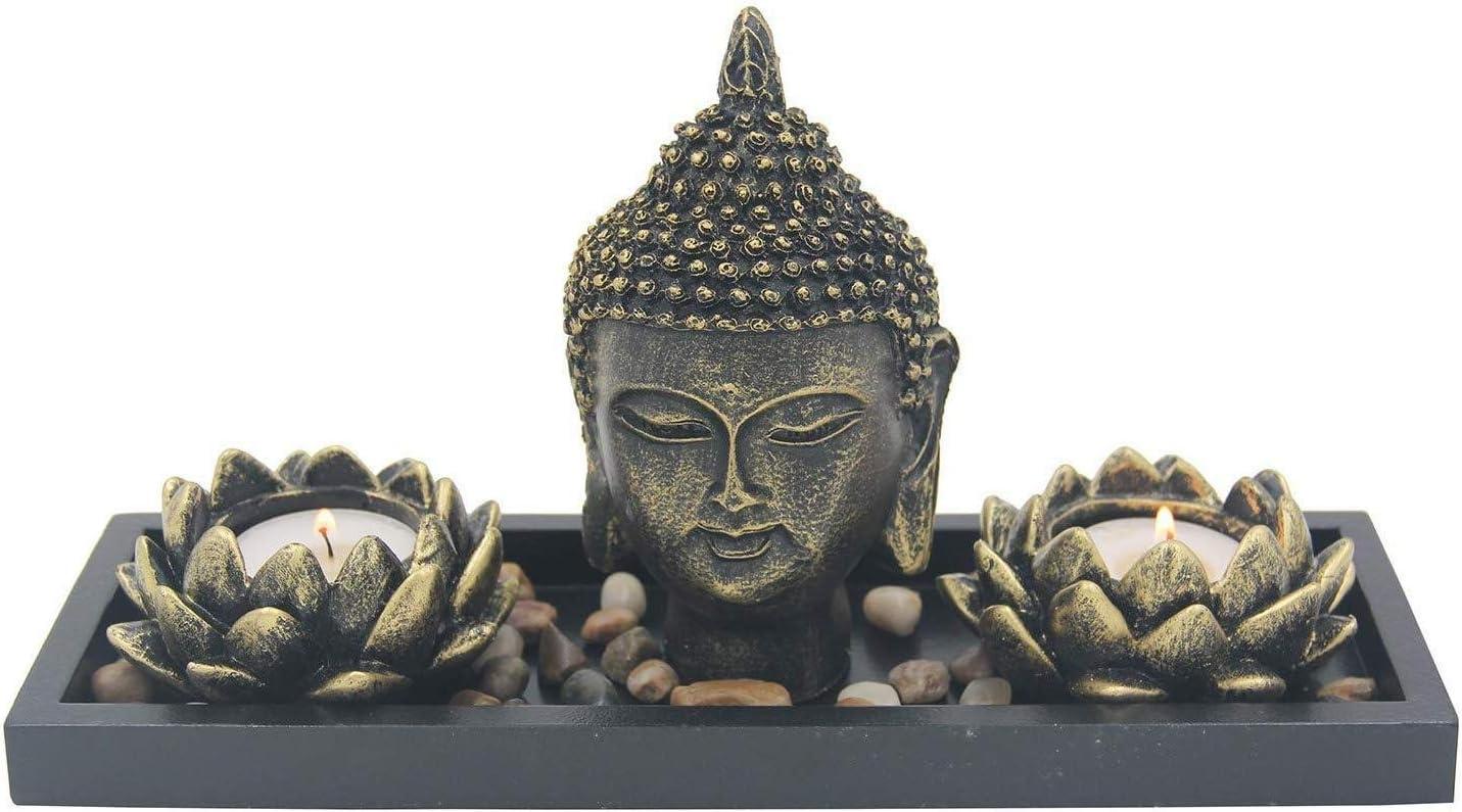 Basic Fundamentals Zen Garden Lotus Candle Holder Home Decor - Buddha Head Office Desk Accessories - Buddha Statue Tea Light Table Top Display