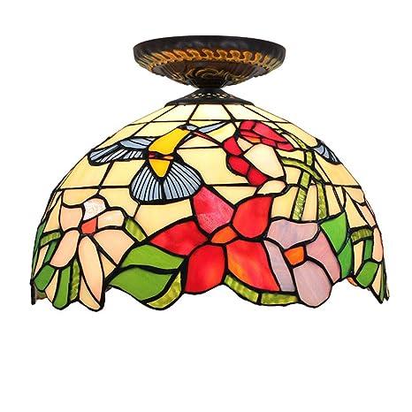 Lámpara de techo estilo vintage de Tiffany Colibrí pastoral ...