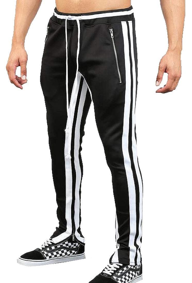 YYG Men Color Block Pockets Sports Hip Hop Casual Sweatpants Pants Trousers