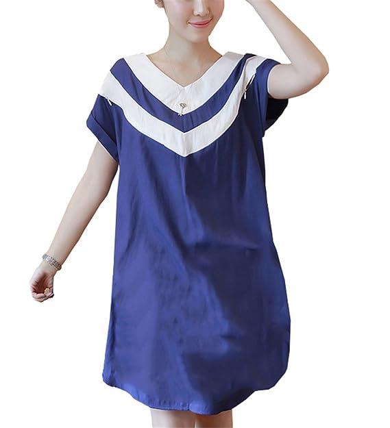 Tayaho Vestido Para Embarazadas Mujer Vestidos En Capas Lactancia Senora Vestidos De Verano Patchwork Mujeres Dress Suelto Elegante Vestido Través ...