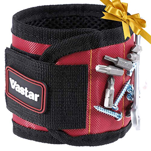 Vastar Magnetic Wristband - Father's Day Gift, Gift for Father's Day, 5 Powerful Magnets for Holding Screws, Nails, Bolts, Drill Bits, Fasteners, Scissors, and Other Small Tools