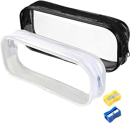 AFASOES 2 Pcs Estuche Transparente para Lapices Estuches de Pvc Estuches Escolares Transparentes Estuche de Lapices Grandes Bolsa Lapices Transparente con Cremallera + 2 Sacapuntas para Niños y Adulto: Amazon.es: Oficina y papelería
