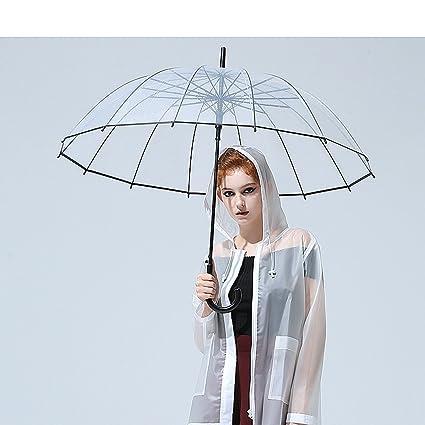 HUACANG Paraguas a Prueba de Viento Transparente Señora de la Boda Paraguas Grande de la Burbuja
