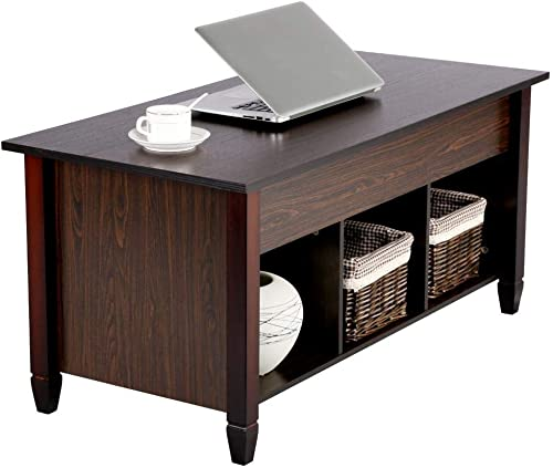 Topeakmart Lift Top Coffee Table – with Hidden Storage Compartment and Lower Shelf in Living Room