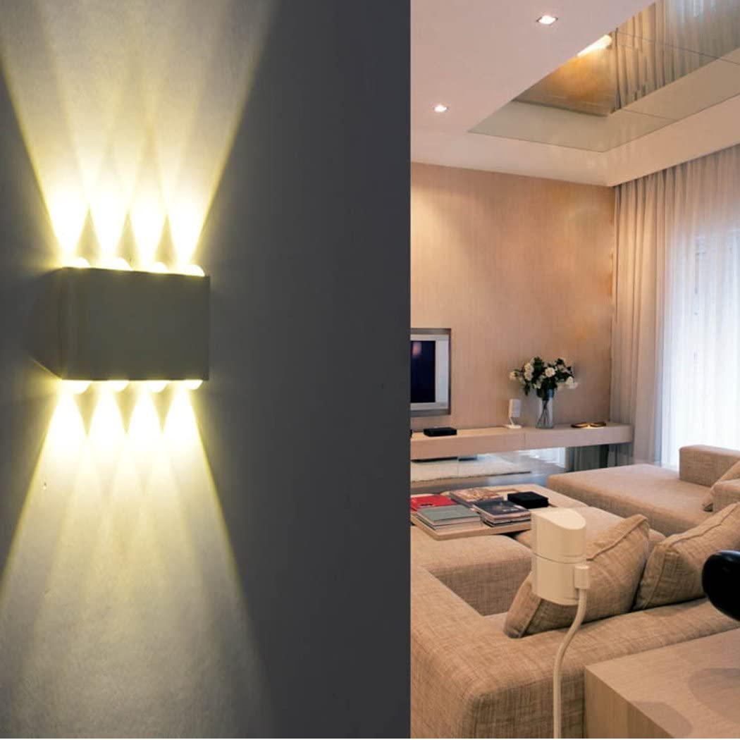 Scale PHOEWON Applique da Parete Interno Moderno 8W Lampade da Parete LED in Alluminio per Interni Esterno Perfetto per Camera da Letto Corridoio Soggiorno Percorso