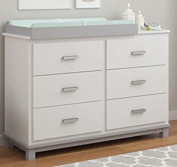 Cosco Products Leni 6 Drawer Dresser With Changing Table, White/Light Slate  Gray