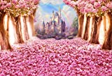 Laeacco Pink Flowers Tree Petals Castle Background 10X6.5FT Photography Backdrop Cherry Blossoms Flower Petals Falling on Ground Pink Background Fantasy Wonderland Sweet Girls Baby Children Portratis