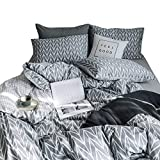 VClife Children Twin Bedding Sets Striped Geometric Pattern Bedding Duvet Cover Sets for Teens Boys Girls, Gray 3 PCS Premium Cotton Comforter Cover Sets, Twin