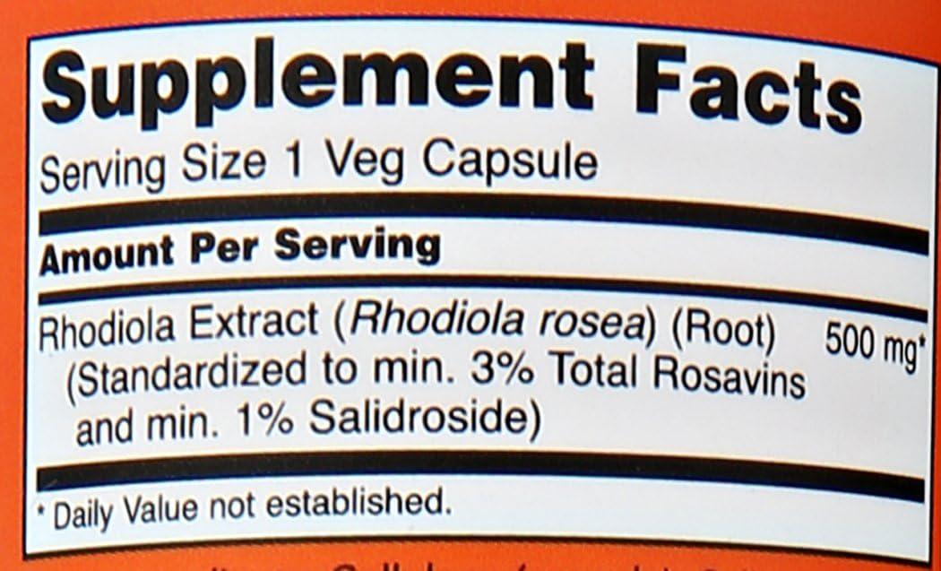 NOW Foods Rhodiola Rhodiola Rosea, 60 Capsules / 500mg (Pack of 2 ...