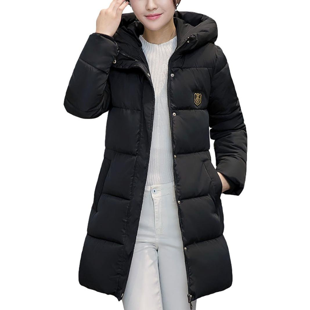 Jushye Women's Down Jacket Coat, Ladies Solid Casual Thicker Winter Outwear Slim Down Lammy Long Overcoat (Black, M) by Jushye