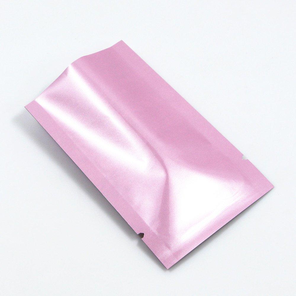 100 Pcs 10x15cm Pink Color Aluminum Foil Open Top Packaging Pouch Mylar Foil Food Storage Bags Heat Sealable Tear Notch Bag Retail Waterproof Kitchen Food Bags