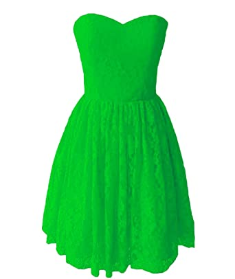PEBridal Womens Sweetheart Lace Short Homecoming Dresses Cheap A Line Prom Gown US2 AppleGreen