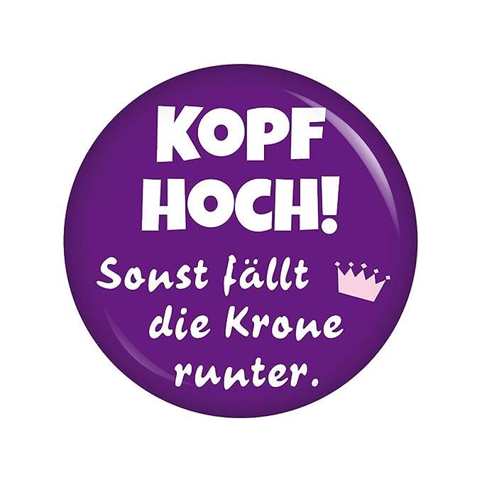 Kiwikatze Spruche Kopf Hoch Sonst Fallt Die Krone Runter 37mm