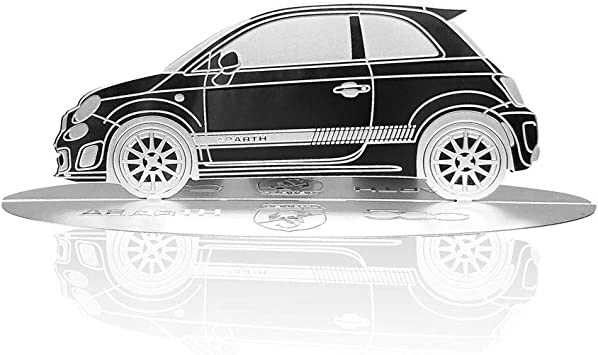 4r Quattroerre It 11203 Modellauto Silhouette Graviert Fiat 500 Abarth Aus Edelstahl Auto