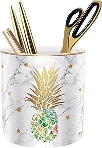 Pencil Cup Cute, Pen Holder for Desk, Pen Pencil Stand Holder for Desk, WAVEYU Office Desk Organizer for Girls Women Kids Ceramic Glitter Marble Makeup Brush Holder, Green Pineapple