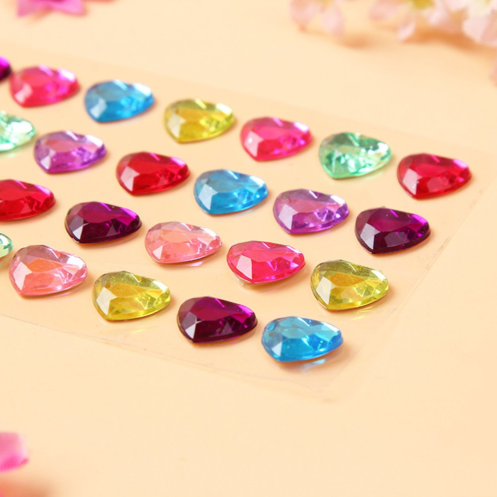 250 Assorted Pieces Zeavola Self-Adhesive Multicolor Flatback Rhinestone Sticker Bling Craft Jewels Crystal Gem Stickers,Assorted Size