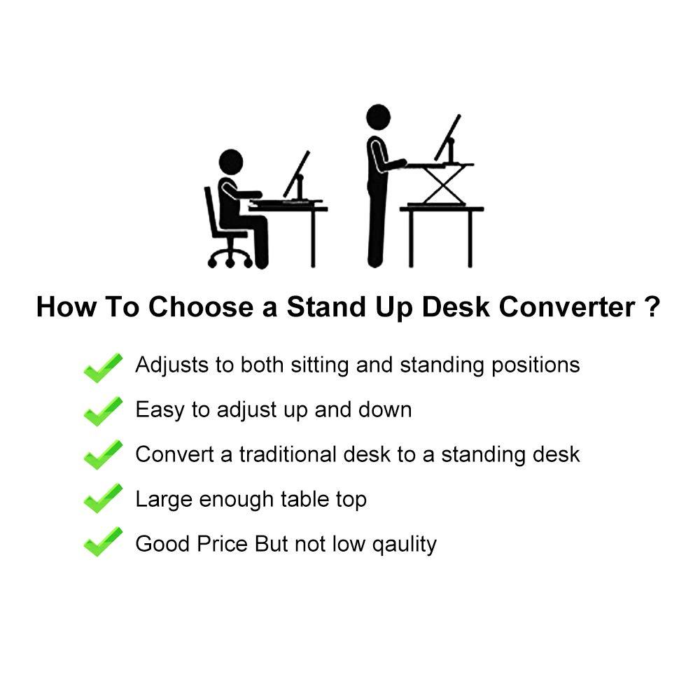 Standing Desk,Height Adjustable Standing Desk Converter, 20.1 31.5 Inch Work Area, Fully Assembled Black