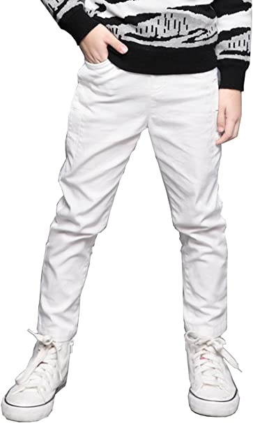 BYCR Boys Cotton Cargo Pants Elastic Waistband Pull on Jogger Trousers for Kids 4-16