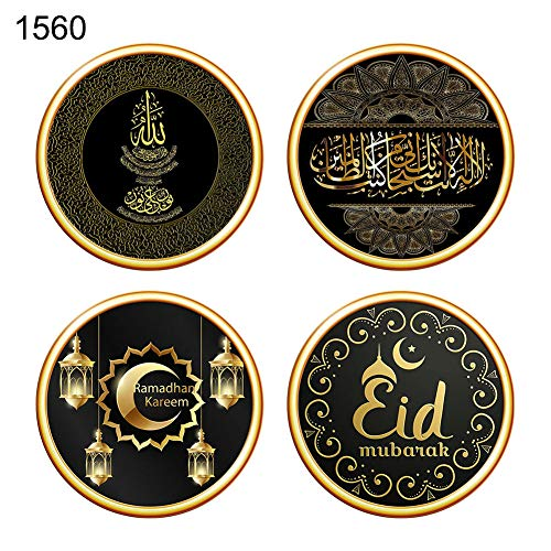 BrawljRORty Wall Stickers for Bedroom, Living Room, Kitchen, Bathrooms - 4Pcs Painting Muslim Crescent Ramadan Decal Wall Sticker Decoration by BrawljRORty (Image #1)
